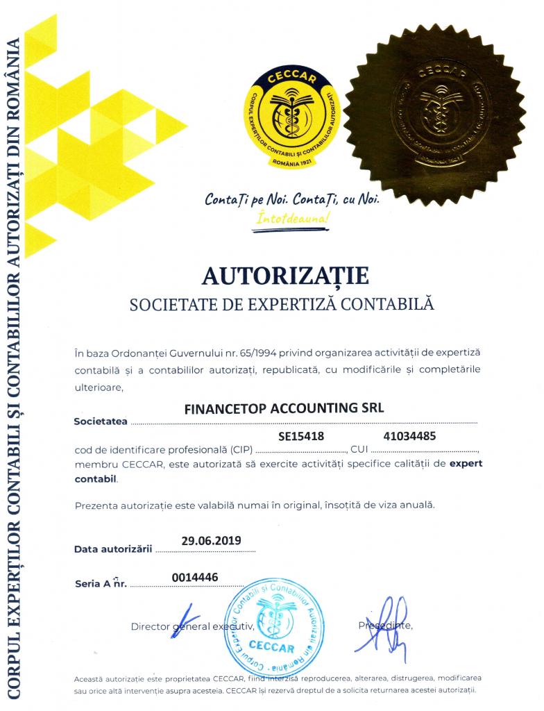 Autorizatie - Societate de Expertiza Contabila
